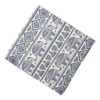 Blue Ethnic Elephant Pattern Bandana