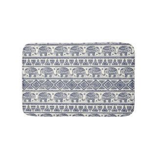 Blue Ethnic Elephant Pattern Bath Mat