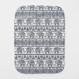 Blue Ethnic Elephant Pattern Burp Cloth