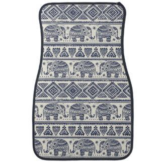 Blue Ethnic Elephant Pattern Car Mat