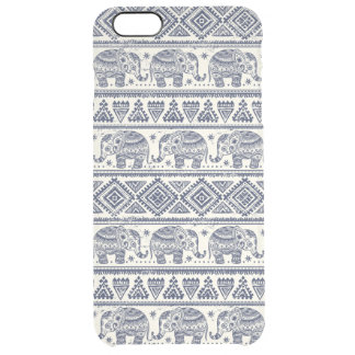 Blue Ethnic Elephant Pattern Clear iPhone 6 Plus Case