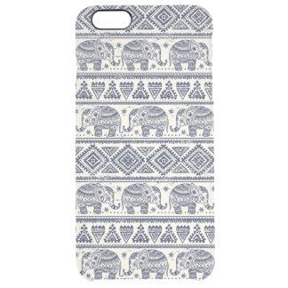 Blue Ethnic Elephant Pattern Clear iPhone 6 Plus Case