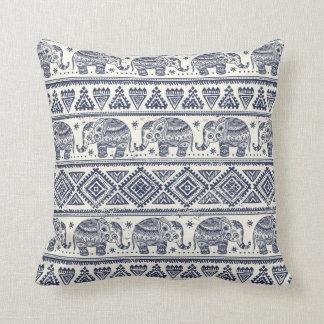 Blue Ethnic Elephant Pattern Cushion