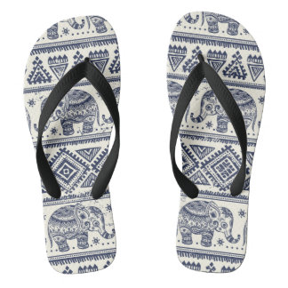 Blue Ethnic Elephant Pattern Flip Flops