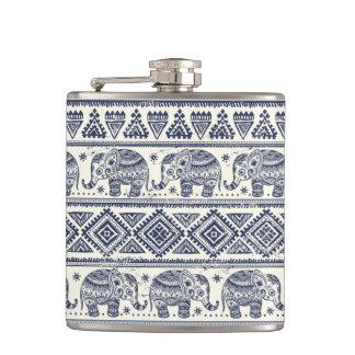 Blue Ethnic Elephant Pattern Hip Flask