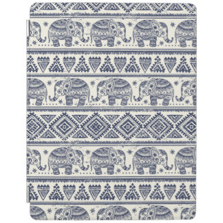 Blue Ethnic Elephant Pattern iPad Cover