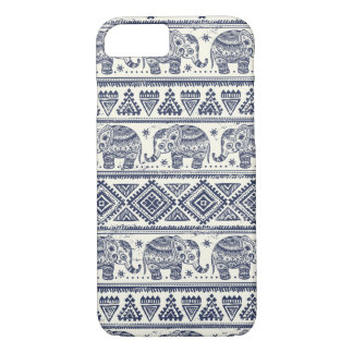 Blue Ethnic Elephant Pattern iPhone 7 Case