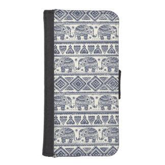 Blue Ethnic Elephant Pattern iPhone SE/5/5s Wallet Case