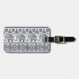 Blue Ethnic Elephant Pattern Luggage Tag