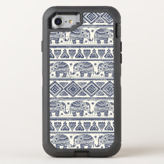 Blue Ethnic Elephant Pattern OtterBox Defender iPhone 8/7 Case