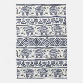 Blue Ethnic Elephant Pattern Tea Towel