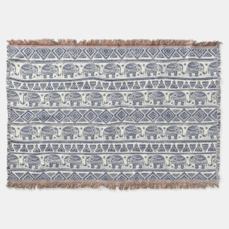 Blue Ethnic Elephant Pattern Throw Blanket