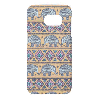 Blue Ethnic Elephant Tribal Pattern