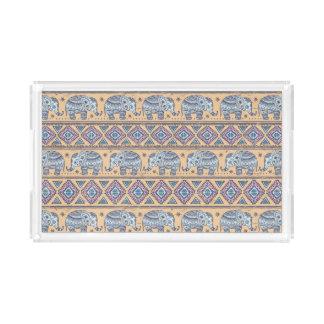 Blue Ethnic Elephant Tribal Pattern Acrylic Tray
