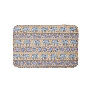 Blue Ethnic Elephant Tribal Pattern Bath Mat