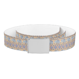 Blue Ethnic Elephant Tribal Pattern Belt