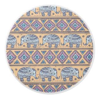 Blue Ethnic Elephant Tribal Pattern Ceramic Knob