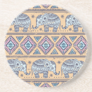 Blue Ethnic Elephant Tribal Pattern Coaster