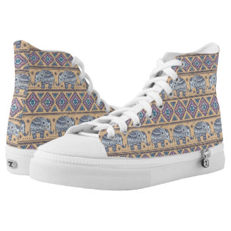 Blue Ethnic Elephant Tribal Pattern High Tops