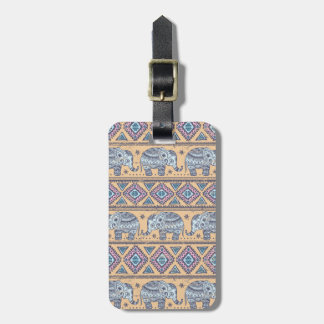 Blue Ethnic Elephant Tribal Pattern Luggage Tag