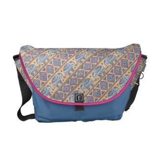 Blue Ethnic Elephant Tribal Pattern Messenger Bag