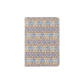 Blue Ethnic Elephant Tribal Pattern Passport Holder