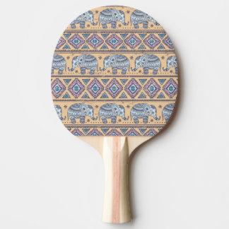 Blue Ethnic Elephant Tribal Pattern Ping Pong Paddle