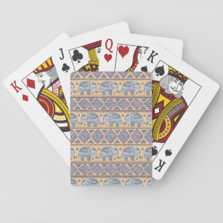Blue Ethnic Elephant Tribal Pattern Playing Cards