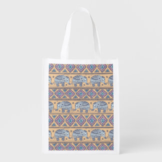 Blue Ethnic Elephant Tribal Pattern Reusable Grocery Bag