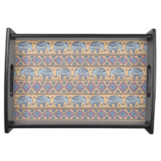 Blue Ethnic Elephant Tribal Pattern Serving Tray