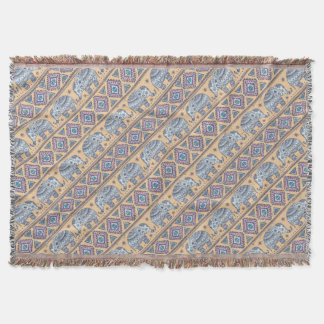 Blue Ethnic Elephant Tribal Pattern Throw Blanket