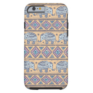Blue Ethnic Elephant Tribal Pattern Tough iPhone 6 Case