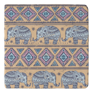 Blue Ethnic Elephant Tribal Pattern Trivet