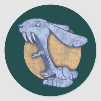 Blue Evil Bunny Round Sticker