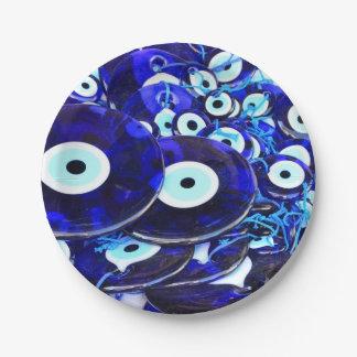 Blue Evil Eye amulets 7 Inch Paper Plate