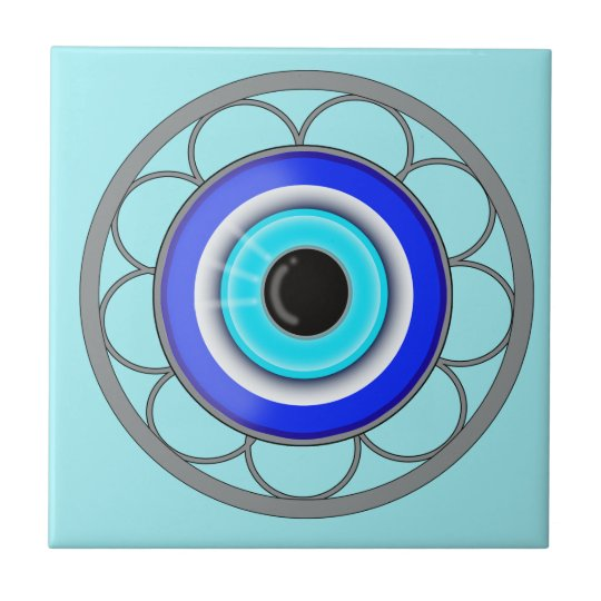Blue Evil Eye Repels Negative Energy - Small Square Tile