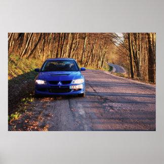 Blue Evolution Race Car Poster