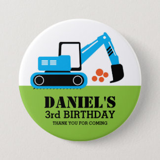 Blue Excavator Kids Construction Party Button
