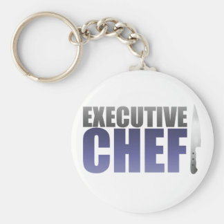 Blue Executive Chef Basic Round Button Key Ring