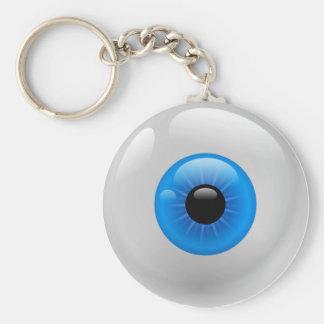 BLUE EYE BALL BASIC ROUND BUTTON KEY RING