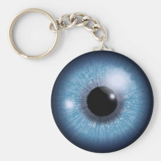 blue eye, basic round button key ring