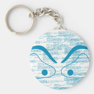 blue eye basic round button key ring
