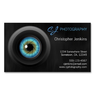 Blue Eye Camera Lens Photography Photographer Magnetic Business Card