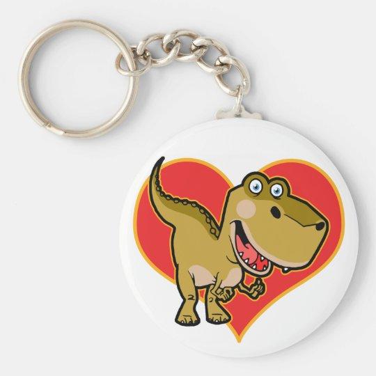 Blue eye Dino Basic Round Button Key Ring