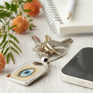 Blue Eye icon Silver-Colored Rectangle Key Ring