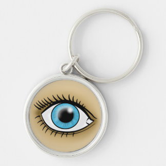 Blue Eye icon Silver-Colored Round Key Ring