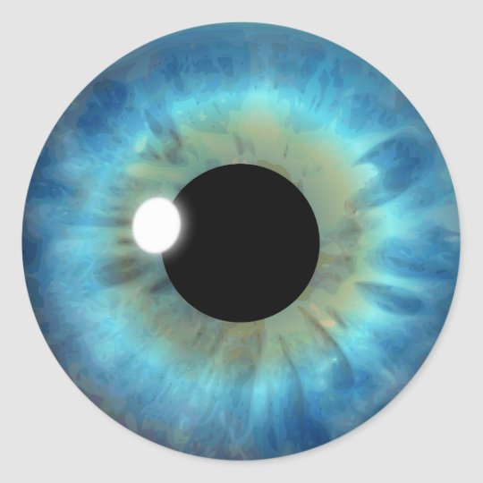 Blue Eye Iris Cool Eyeball Custom Round Stickers