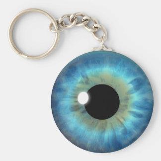 Blue Eye Iris Eyeball Cool Custom Round Key Chain