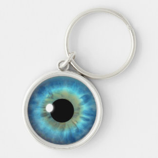 Blue Eye Iris Eyeball Cool Custom Round Keychains