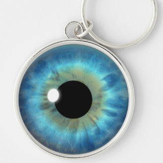 Blue Eye Iris Eyeball Cool Custom Round Keychains Key Chain